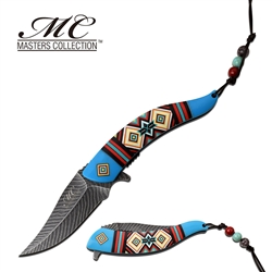 Indian Native American Feather Knife Blue