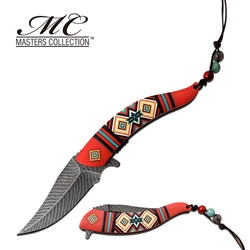 Indian Native American Feather Knife Red