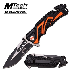 Mtech Emt Rescue Spring Assisted EDC Knife Orange Mt-A865Emo | Carry Knives