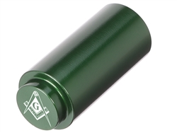 NDZ 1911 RECOIL SPRING PLUG IN ALUMINUM GREEN MASONIC SQUARE & COMPASS INVERSED