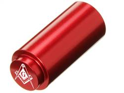 NDZ 1911 RECOIL SPRING PLUG IN ALUMINUM RED MASONIC SQUARE & COMPASS INVERSED