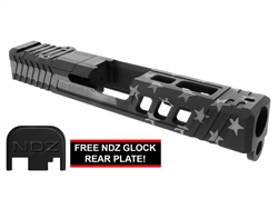 NDZ19 TROI Glock Slide Upgrade For Glock 19 Gen 1-3 With RMR Cut And Plate in Blackout & Tungsten US Flag Cerakote