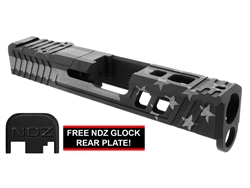 NDZ26 TROI Slide Upgrade For Glock 26 Gen 1-4 With RMR Cut And Plate in Blackout & Tungsten US Flag Cerakote