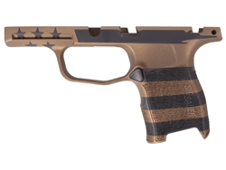 Sig Sauer P365 Grip Module Compact 9mm with Manual Safety in Cerakote Burnt Bronze & Black U.S. Flag