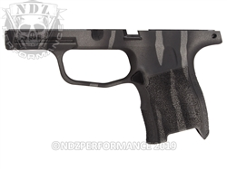 Custom Sig Sauer P365 Grip Module - Cerakote Black & Tungsten Tiger Stripe - Compact 9mm