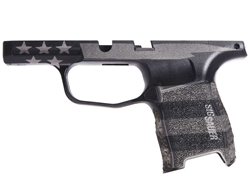 Custom Sig Sauer P365 Grip Module - Stippled Cerakote Blackout & Tungsten U.S. Flag - Compact 9mm