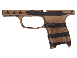 Custom Sig Sauer P365 Grip Module - Cerakote Burnt Bronze & Black U.S. Flag - Compact 9mm