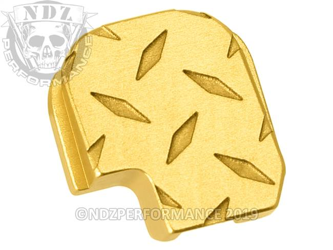 NDZ True Gold Sig Sauer P365 Rear Slide Cover Plate  Diamond Cut Inverse
