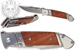 "SOG Fielder Folding Knife FF30-CP - Mirror Polish 3.3"" Blade, Wood & Stainless Steel Handle"