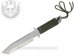 "Survivor Fixed Tanto Knife HK-106280 Green Cord Handle 6"" Blade"
