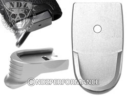 NDZ Silver Magazine Base Plate Finger Extension Textured for Smith & Wesson Shield 9MM .40 (*LZ)