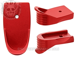 NDZ Red Magazine Plate Finger Extension Textured for Smith & Wesson Shield .45 (*LZ)