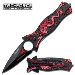 Tac-Force TF-707Rd Dragon Spring Assisted EDC Knife Red | Carry Knives