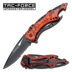"Tac-Force TF-705Rc Skeleton 3.25"" Spring Assisted Folding EDC Knife Red Camo 