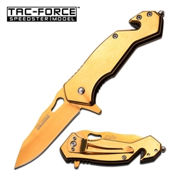 Tac-Force TF-903Gd Rescue Spring Assisted EDC Knife Gold | Carry Knives