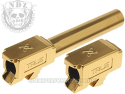 True Precision Glock 19 Non Threaded Gold TiN Barrel X Fluted