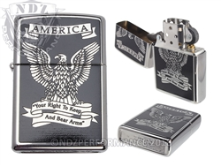 "Zippo ""America Right To Bear Arms"" Windproof Lighter Black & White"